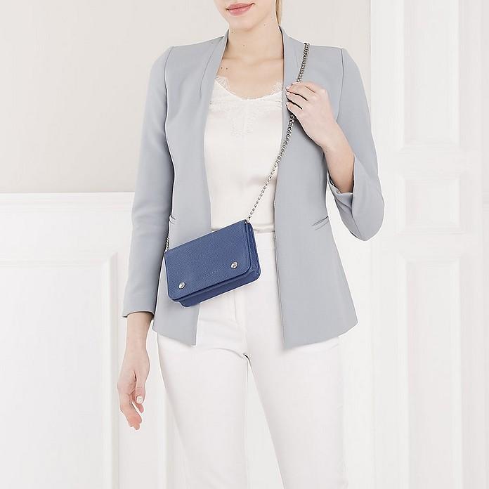 Longchamp Le Foulonné Wallet On Chain Leather Sapphire - FORZIERI
