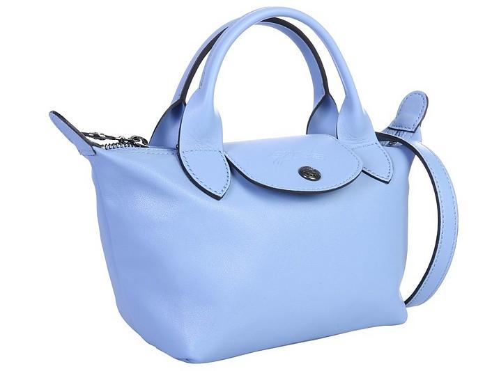 Longchamp Le Pliage Cuir Light Blue XS Top-Handle Bag at FORZIERI