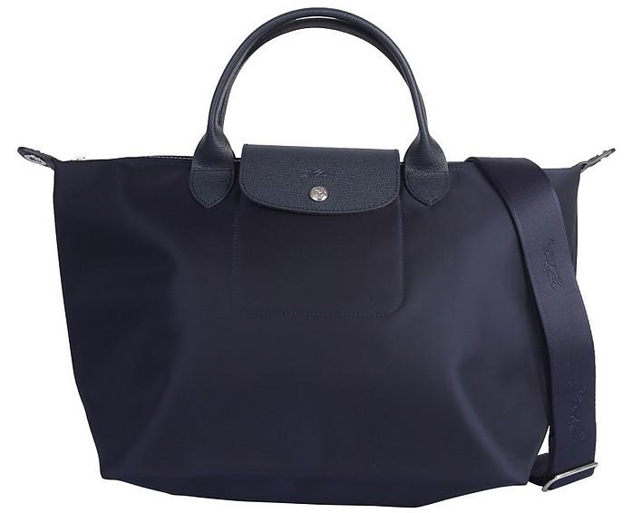 Le Pliage Neo Blue Nylon M Tote Bag