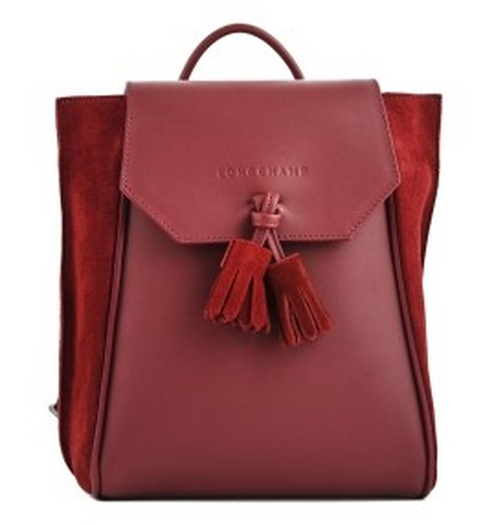 Cherry Red Leather and Suede Penelope Backpack - Longchamp