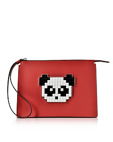 Color Block Leather Jack Panda Clutch - Les Petits Joueurs