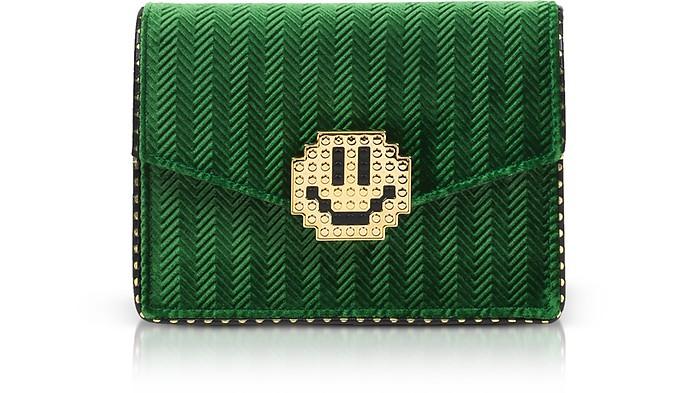 Lulu Metal Smile Green Velvet Clutch