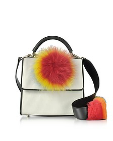 White Pleated Leather Mini Alex Satchel w/Rainbow Pom-Pom - Les Petits Joueurs