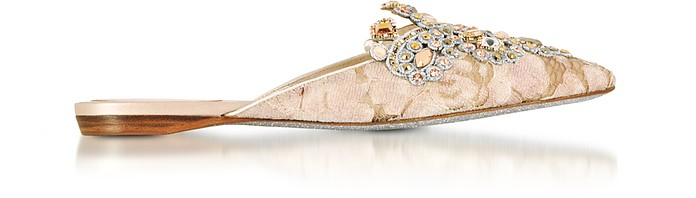 Veneziana Beige Lace and Light Gold Nappa Mule w/Crystals - Rene Caovilla