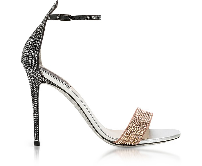 Celebrita Two-tone Satin Sandals w/Crystals - Rene Caovilla