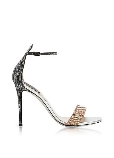 Celebrita Two-tone Satin Sandals w/Crystals - Rene Caovilla