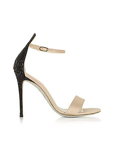 Celebrita Nude Satin Sandals w/Black Crystals - Rene Caovilla