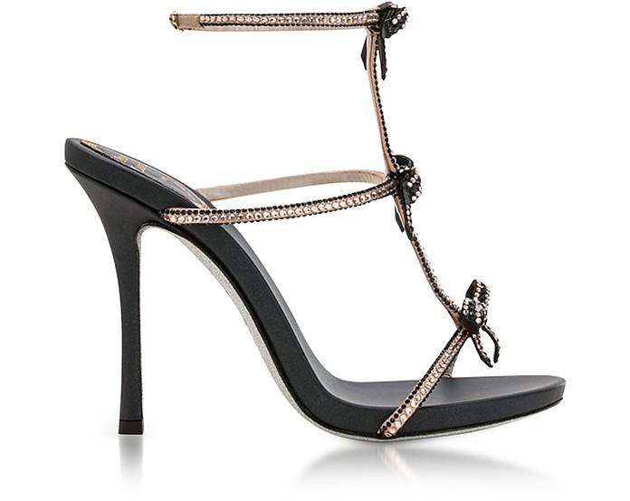 Caterina Black/Nude Satin T-Bar Sandals w/Crystals - Rene Caovilla