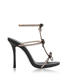 Caterina Black/Nude Satin T-Bar Sandals w/Crystals - Rene Caovilla