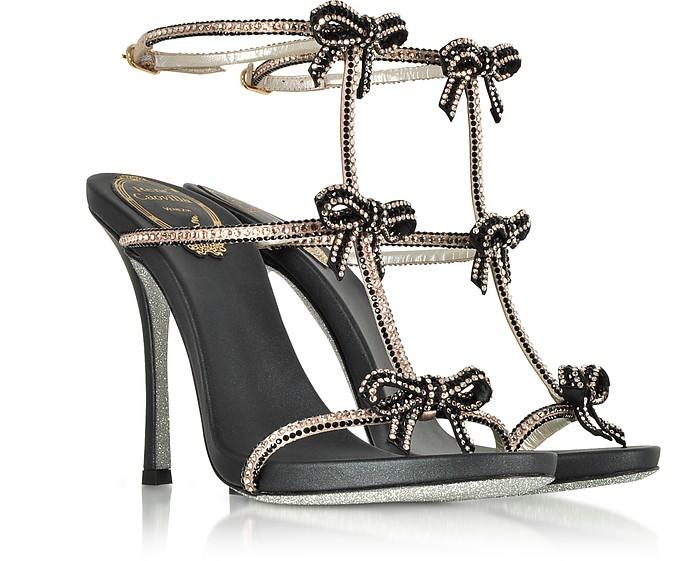 RENé CAOVILLA Designer Shoes, Caterina /Nude Satin T-Bar Sandals w/Crystals