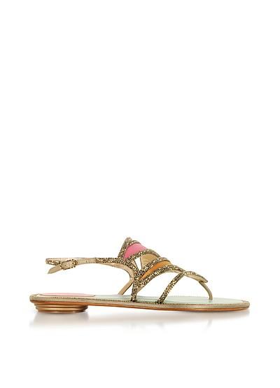 Kandinsky Satin and Metallic Light Gold Flat Sandals w/Strass - Rene Caovilla