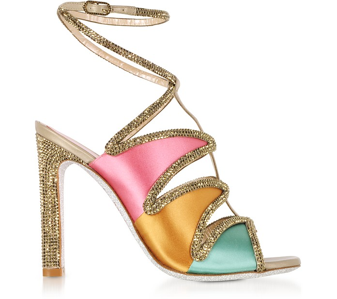 Kandinsky Satin and Metallic Light Gold High Heel Sandals w/Strass - Rene Caovilla