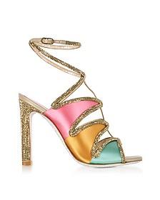 Kandinsky Sandali in Satin Oro con Glitter - Rene Caovilla