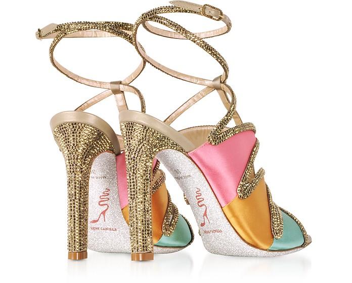 Kandinsky Sandali in Satin Oro con Glitter Rene Caovilla 35 hJKLS