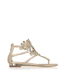 Light Gold/Ivory Cream Leather Flat Sandals w/Crystals - Rene Caovilla