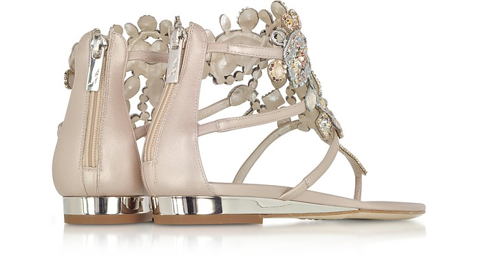 RENé CAOVILLA Designer Shoes, Light /Ivory Cream Leather Flat Sandals w/Crystals