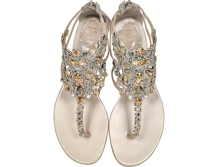 672d28fb686 Light Gold Ivory Cream Leather Flat Sandals w Crystals - Rene Caovilla.   838.50  1