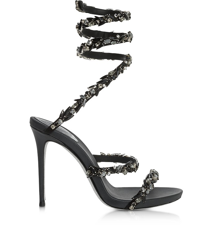 Black Satin and Black Crystals High Heel Sandals - Rene Caovilla
