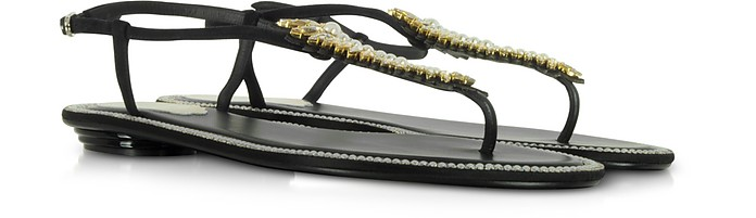 Black Suede and Crystals Flat Sandals - Rene Caovilla