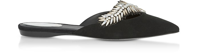 Black Suede and Crystals Pointy Mules - Rene Caovilla