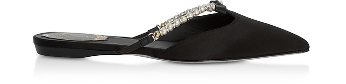 Black Satin and Pearls Pointy Mules - Rene Caovilla