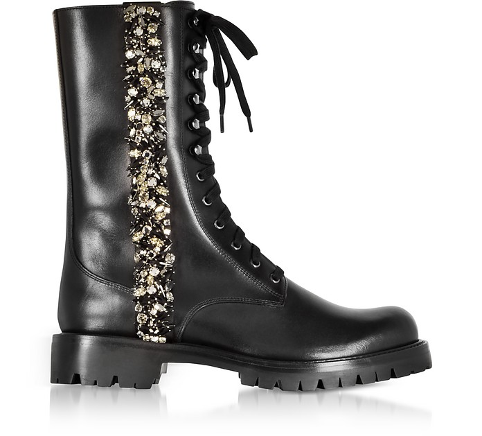 Black Leather Combat Boots w/Crystals - Rene Caovilla