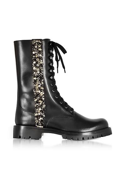 Black Leather Combat Boots w/Crystals - Rene Caovilla