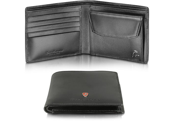 Tonino Lamborghini Logo Black Calfskin Leather Square Billfold