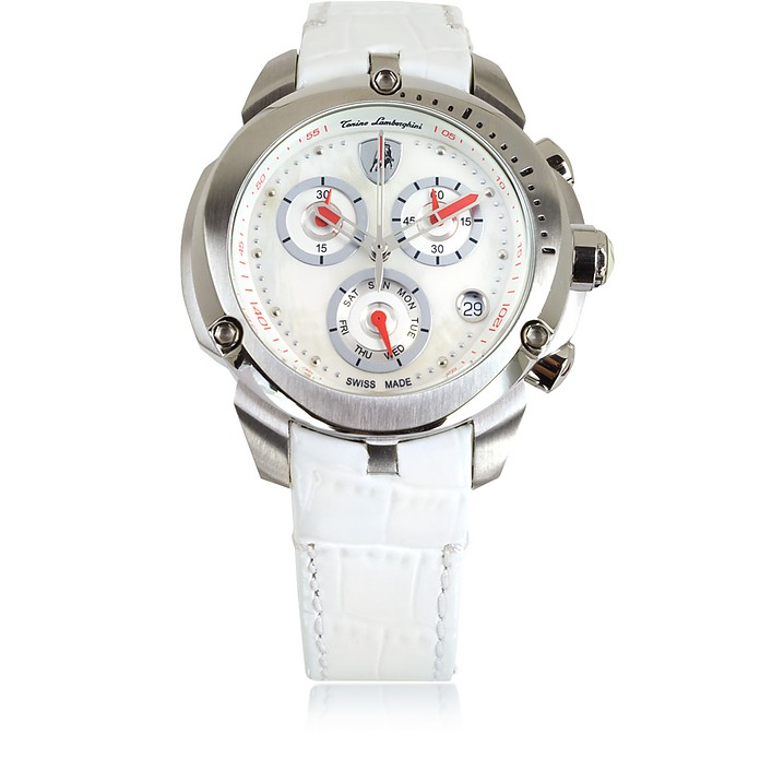 Shield Lady Silver Tone Stainless Steel and White Croco Print Leather Chronograph Watch - Tonino Lamborghini