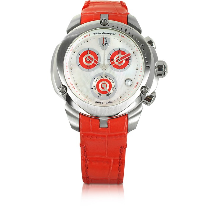 Shield Lady Silver Tone Stainless Steel and Red Croco Print Leather Chronograph Watch - Tonino Lamborghini
