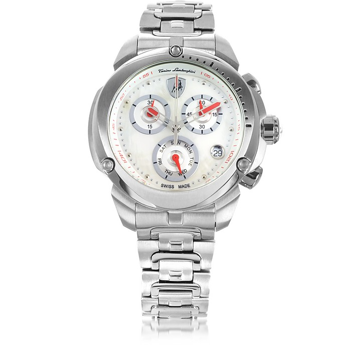 Shield Lady Silver Tone Stainless Steel Chronograph Watch - Tonino Lamborghini