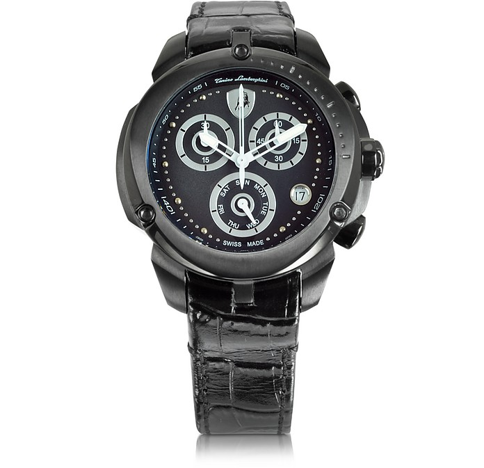 Shield Lady Black Stainless Steel and Black Croco Print Leather Chronograph Watch - Tonino Lamborghini / トニーノ ランボルギーニ