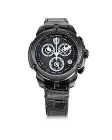 Shield Lady Black Stainless Steel and Black Croco Print Leather Chronograph Watch - Tonino Lamborghini