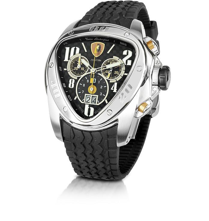 Tonino Lamborghini Spyder Black Rubber Strap Chronograph Watch At