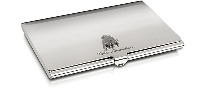 silver collection logo business card holder tonino lamborghini - Silver Business Card Holder