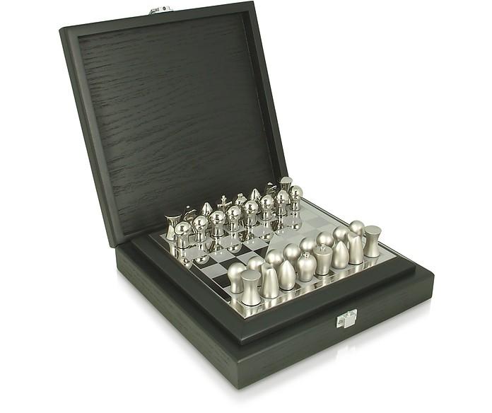 tonino lamborghini silver collection - logo chess set in wooden