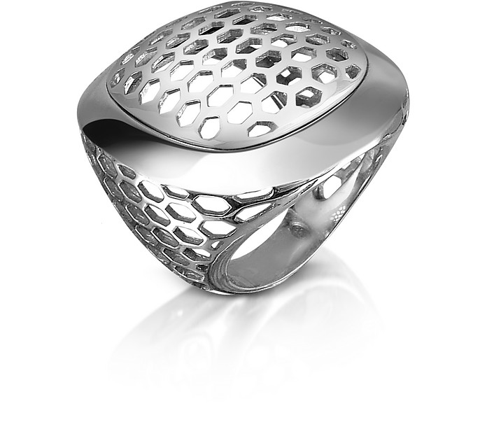 Tonino Lamborghini Men S Perforated Sterling Silver Ring Usa 7 It 14 Uk N At Forzieri