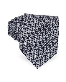 Black Print Silk Tie