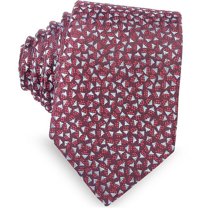 Burgundy Geometric Square Patterned Woven Silk Tie - Lanvin