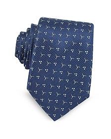 Navy Blue Patterned Woven Silk Tie - Lanvin
