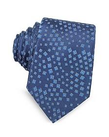 Geometric Pattern Woven Silk Tie  - Lanvin