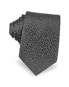 Geometric Woven Twill Silk Narrow Tie - Lanvin