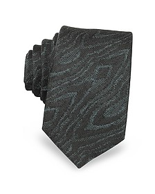 Black Woven Silk Narrow Tie - Lanvin