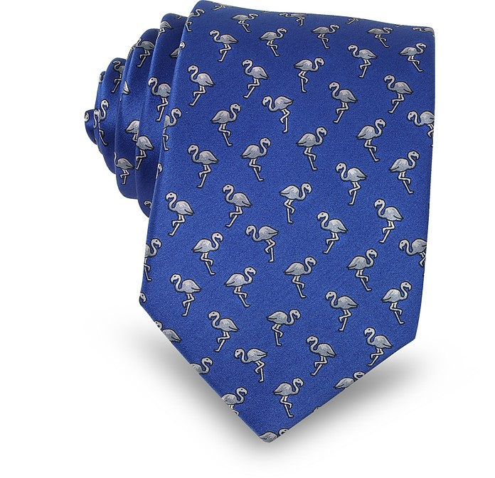 Flamingo Print Silk Men's Narrow Tie - Lanvin / ランバン