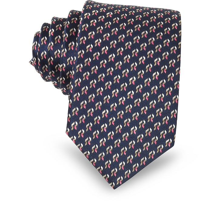 Navy Blue Abstract Print Silk Men's Narrow Tie - Lanvin