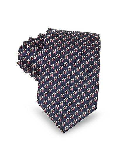 Navy Blue Abstract Print Silk Men's Narrow Tie - Lanvin