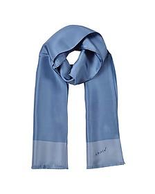 Blue Fringed Silk Men's Scarf