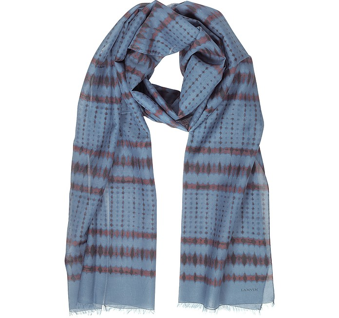 Batik Print Cotton Blend Men's Long Scarf w/Fringes - Lanvin / ランバン