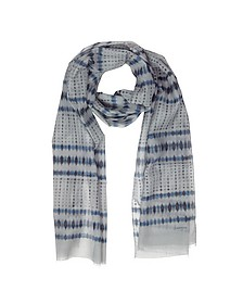 Batik Print Cotton Blend Men's Long Scarf w/Fringes - Lanvin