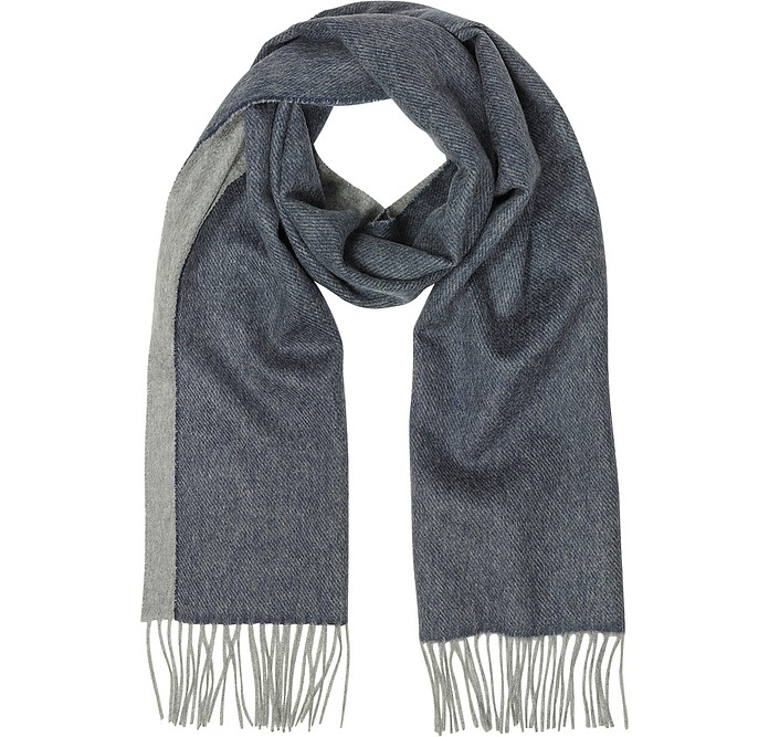Blue and Gray Reversible Pure Cashmere Men's Scarf - Lanvin